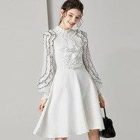 White Lantern Sleeve Cotton Midi Dress Vintage Ruffles Tunic Ladies Dresses Knit Sweater Dress Lolita High Quality Clothes Chic