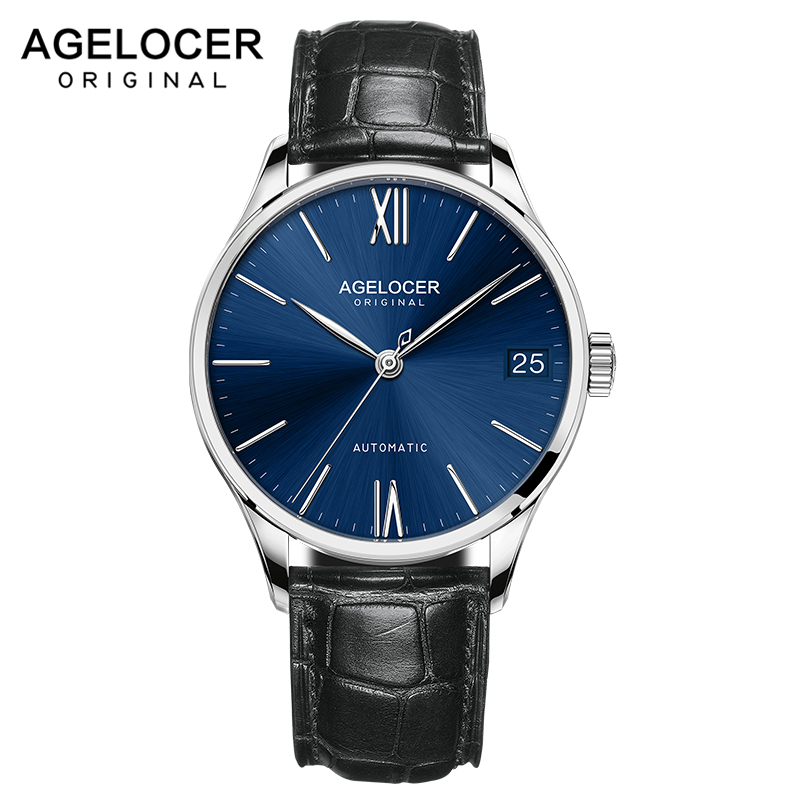 2019 Mens Watches AGELOCER Swiss Brand Luxury Saphire Power Reserve Wristwatch Leather Strap Male Clock watch relogio masculino