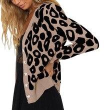 Cardigans léopard pour femmes, simple bouton imprimé Animal, pull décontracté, col en V, nouvelle mode, 408 # emme