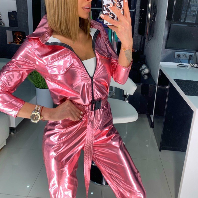 2019 Autumn Capped Long Sleeve Solid Jumpsuit Sashes Women Sexy Zipper Silver Long Romper Streetwear Casual Overalls