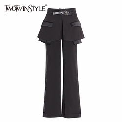 TWOTWINSTYLE Streetwear Irregular Trousers For Women High Waist With Sashes Straight Pants Female Spring Fashion New 2020