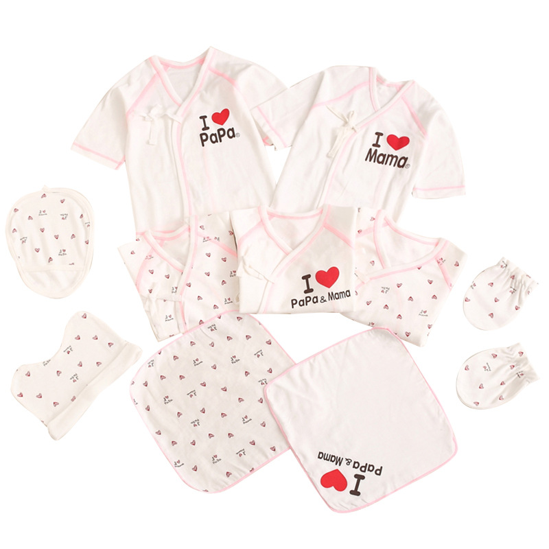 I Love Dad I Love Mom Autumn New Style Multi-color Infants Clothing Bag 10 Pieces Pure Cotton Long Sleeve Childrenswear