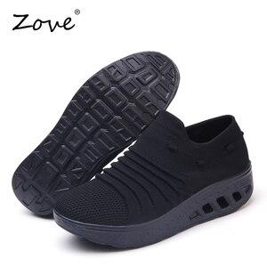 Image 4 - ZOVE damskie trampki buty płaskie klapki platformy buty oddychające siatkowe buty do chodzenia damskie Casual pnącza Rocker jesienne buty