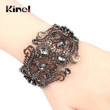 Винтажный Индийский широкий серый цветочный браслет kinel с