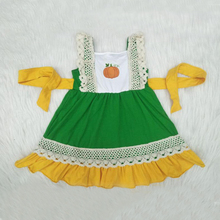 Fashion Frocks Design Summer Kids Clothes Cute Baby Girls Dress RTS Pumpkin Girls Party Dresses With Lace недорого