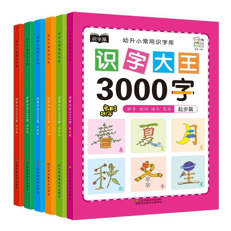 Lote de 6 unidades de libros chinos de 3000 con personajes de uso común, para escuela primaria, educ