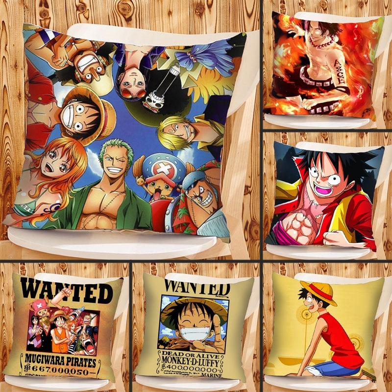 Mling 1pcs 45x45cm One Piece Lufei Sauron Print Polyester Peachskin Pillowcases Waist Pillow Cover Decorative Pillows Cover