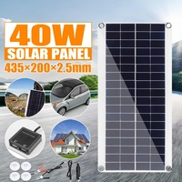 40W DC 18V Solar Panel Battery Charger Portable Flexible Solar Cell Board Crocodile Clips Car charger For Phone RV Car