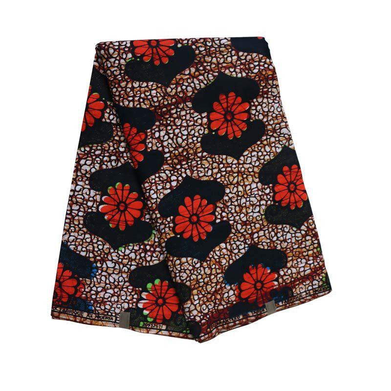 Ankara African Wax Red Flowers Print Dutch Wax Fabric Veritable Wax Dutch 100% Cotton Fabric 6 Yards Fabric