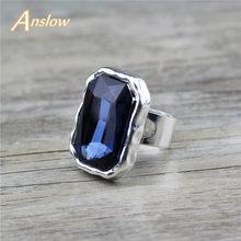Anslow-anillos de compromiso de boda para mujer, accesorio Vintage de Cristal grande, tamaño ajustable, regalo para el día de la madre, joyería, LOW0051AR