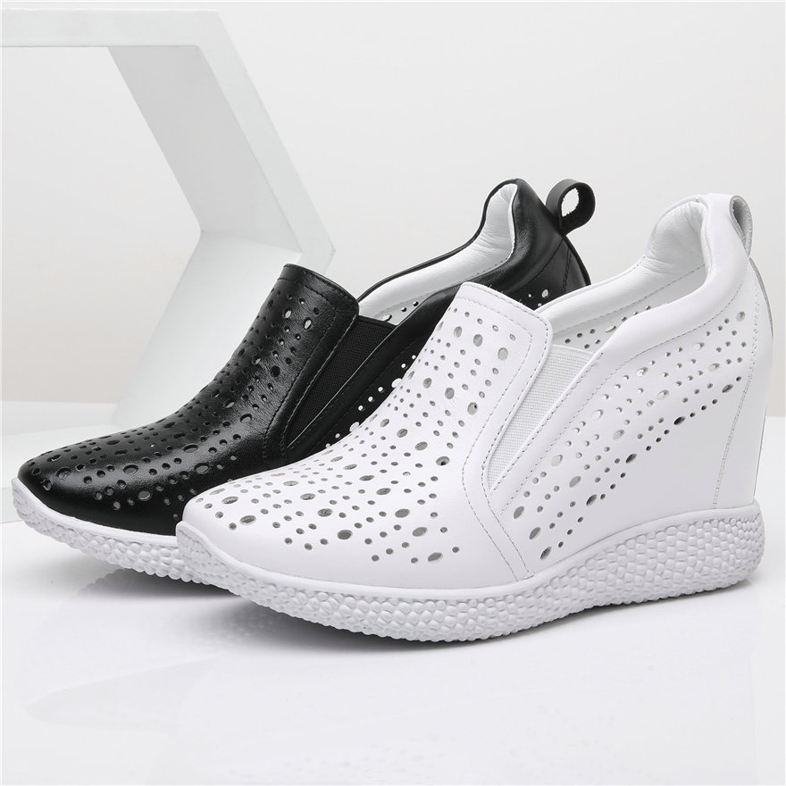 Summer Vulcanized Shoes Women Genuine Leather High Heel Fashion Sneakers Female Round Toe Platform Wedges Walking Pumps Shoes
