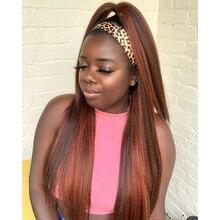 Wigs Human-Hair Straight Full-Machine Peruvian for Black Women Made 180-Density Headband-Wigs