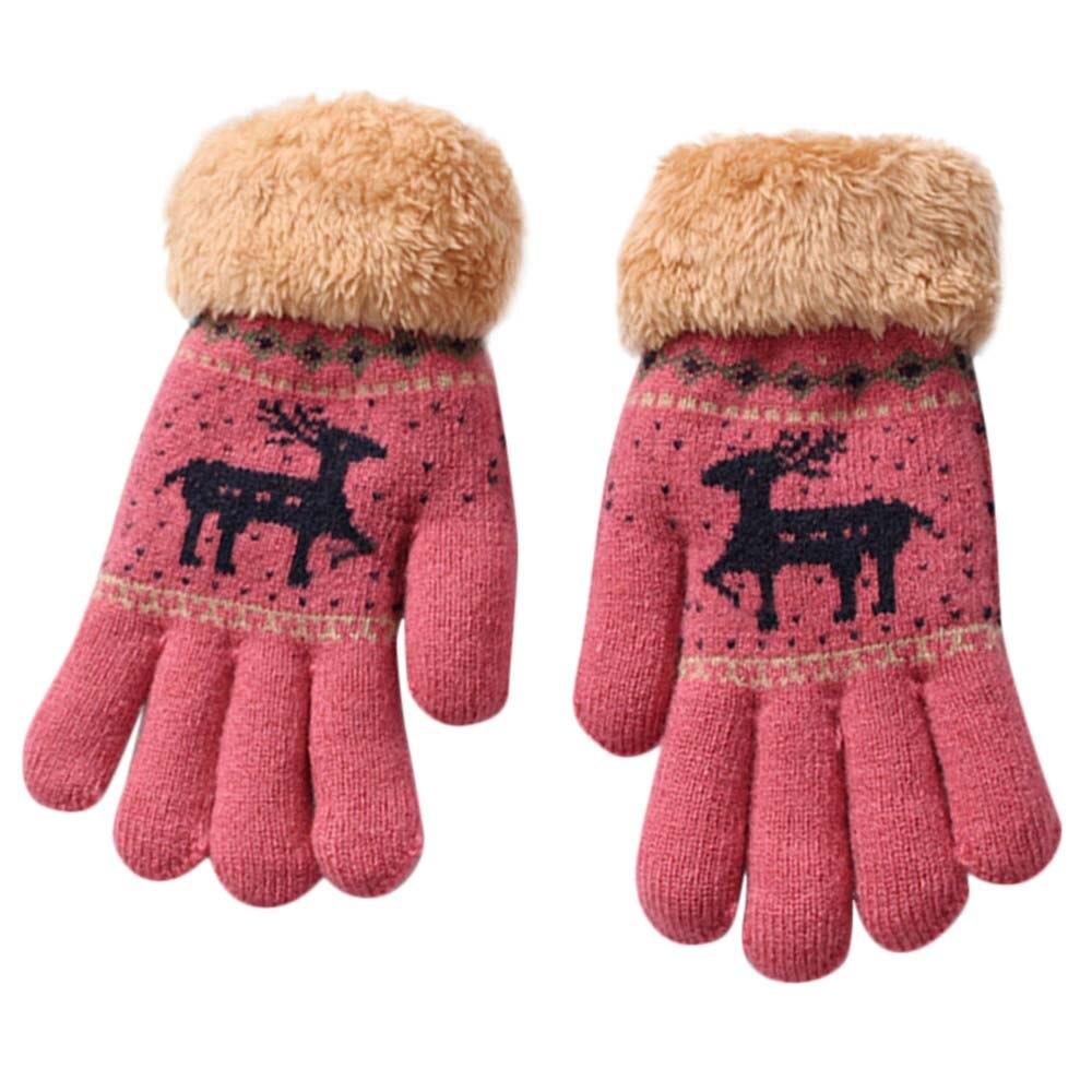 Детские милые утепленные варежки с мультяшным рисунком маленького оленя, зимние теплые перчатки для мальчиков и девочек с рождественским п...