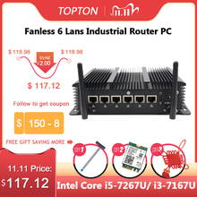 Topton Fanless 6 Lans Industriële Mini Pc Intel Core I5 7267U I3 7167U Firewall Pc Pfsense Router 4 * USB3.0 2 * RS232 Hdmi 4G/3Gwifi