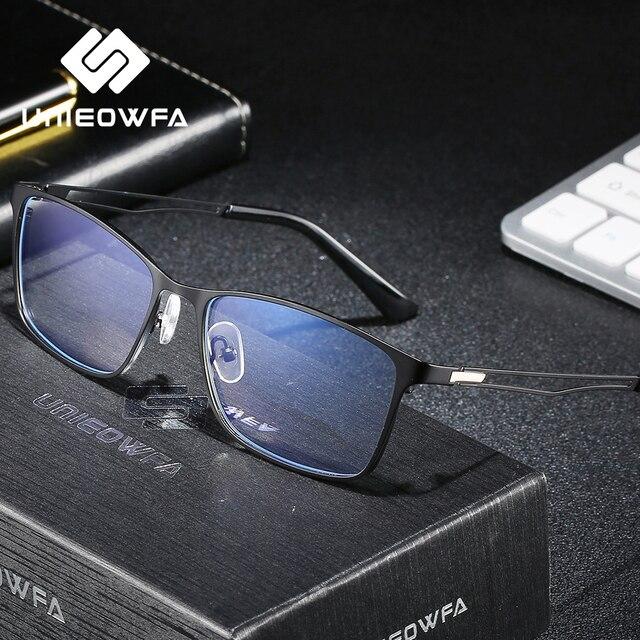 안티 블루 라이트 광학 안경 프레임 남자 근시 처방 안경 프레임 지우기 컴퓨터 안경 합금 프레임 안경