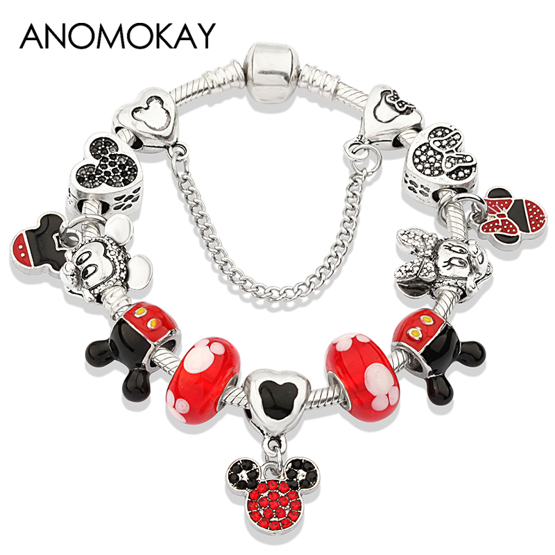 Anomokay Dropshipping Hot Silver Color Mickey Minnie Charm Bracelet Bangle Red Crystal Bead Bracelet DIY Gift For Women Girl New