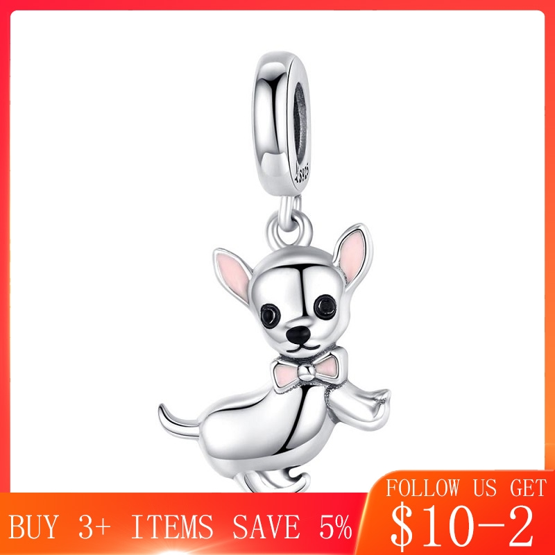 CodeMonkey Cute Pet Chihuahua Dog Pendant Charm Silver 925 Original Pink Enamel Ear Fashion Jewelry Gifts Girl Accessories C1317