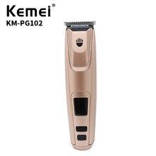 Kemei машинка для стрижки волос Двухслойное лезвие из сплава с ЖК-экраном электрическое USB зарядное устройство Высокое качество 220 В машинка для стрижки волос KM-PG102