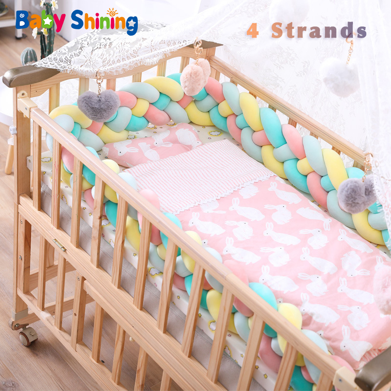 Baby Shining 4 Strands Newborn Crib Bumper 2M/3M Infant Bed Protector Room Decor 17CM(6.7in) Height Pure Weaving Plush Knot