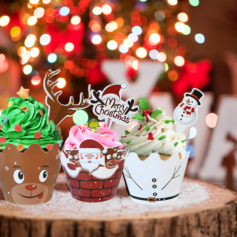 2Christmas Cake Paper Cup And Topper Set Merry Christmas Snowman Santa Claus Cake Decoration Baking Paper Wrapper Supplies  - buy with discount