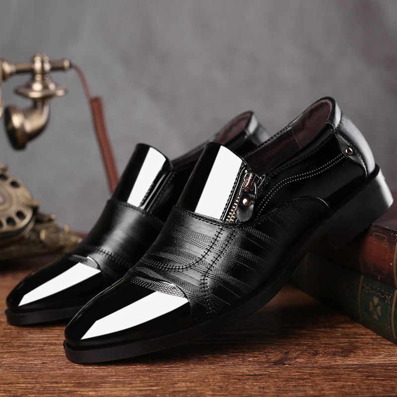 Klassieke Zakelijke mannen Jurk Schoenen Mode Elegante Formele Bruiloft Schoenen Mannen Slip Op Kantoor Oxford Schoenen Voor Mannen Zwart