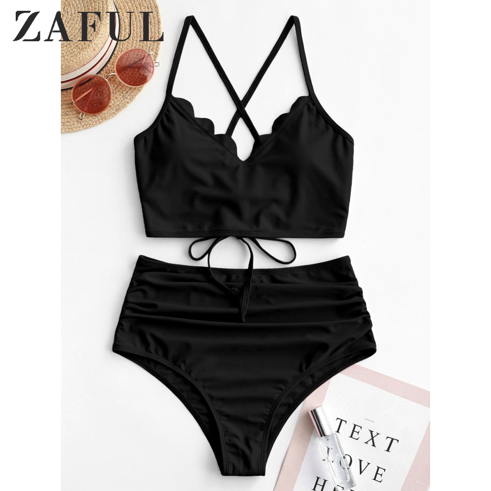 ZAFUL Scalloped Lace-Up Ruched Tankini Swimsuit Petal Back Strap Shoulder Strap Set Criss Cross Crop Top High Waisted Swimsuit