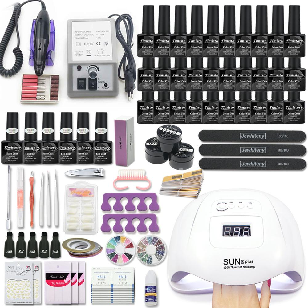 Super Manicure Set Acrylic Nail Kit With 120/54W Nail Lamp Nail Set Manicure Machine 20/30 PCS Gel Nail Polish Set Nail Art Tool
