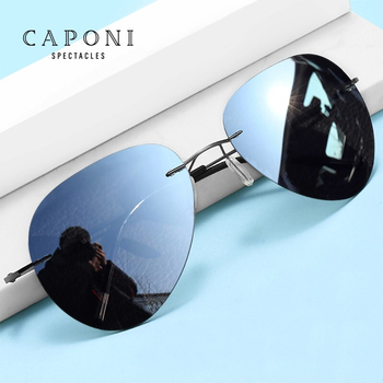 CAPONI Rimless Avation okulary przeciwsłoneczne dla mężczyzn spolaryzowane przebarwienia okulary przeciwsłoneczne do prowadzenia pojazdu lub wędkowania lekkie odcienie męskie BS7466 tanie i dobre opinie CN (pochodzenie) Pilotki Dla osób dorosłych STOP polaryzacyjne Fotochromowe Przeciwodblaskowe UV400 52mm 62mm 10 5g Anti reflective Anti dazzling UV filter
