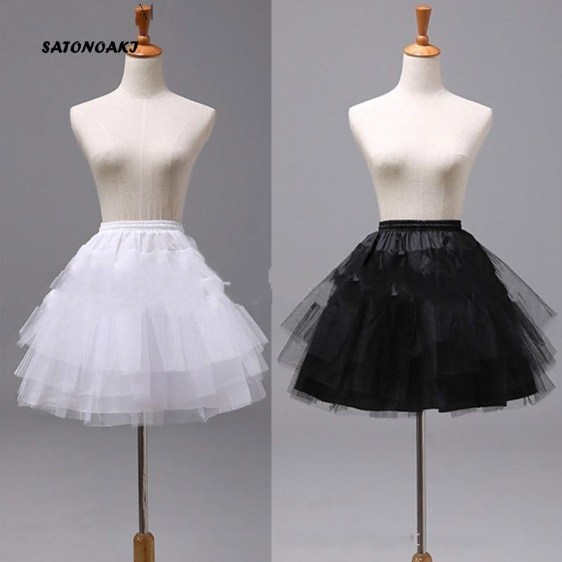 SATONOAKI Top Quality Stock White  Ballet Petticoat Tulle Ruffle Short Crinoline Bridal Petticoats Lady Girls Underskirt Jupon