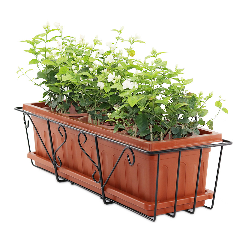 Rectangle Grow Vegetables Flowerpot Simplicity Iron Frame Suspension Balcony Grow Vegetables Strawberry Basin Pylons