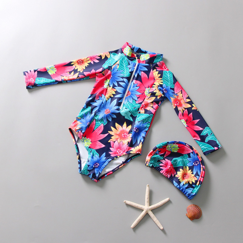KID'S Swimwear Girls One-piece Quick-Dry Diving Suit Long Sleeve Sun-resistant Cartoon Baby Infant CHILDREN'S Swimsuit Case Whol