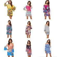 2019 New Women Dress Vintage Print Slash Neck Collar Street Style Empire Beach Clothes