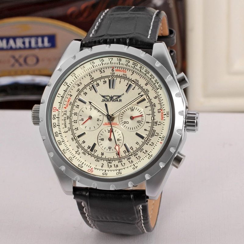 JARAGAR 2020 Mechanical Men's Watches Vintage 24Hour Calendar Design Automatic Leather Band Wrist Watch Men Relogio Masculino