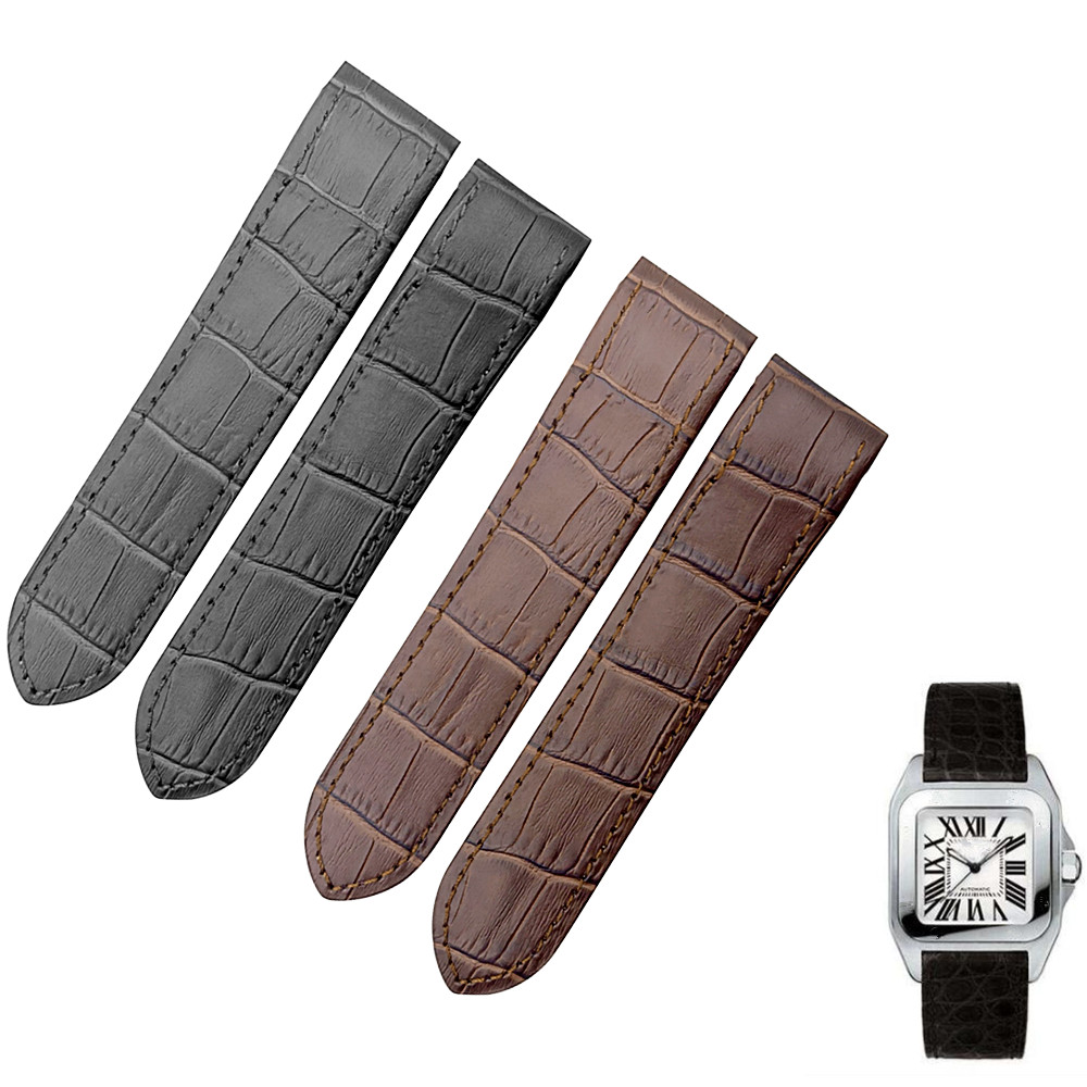 Handmade 20mm 23mm Black Genuine Calf Leather Strap Watch Band For Cartier Santos 100 WatchBand DIY Replace