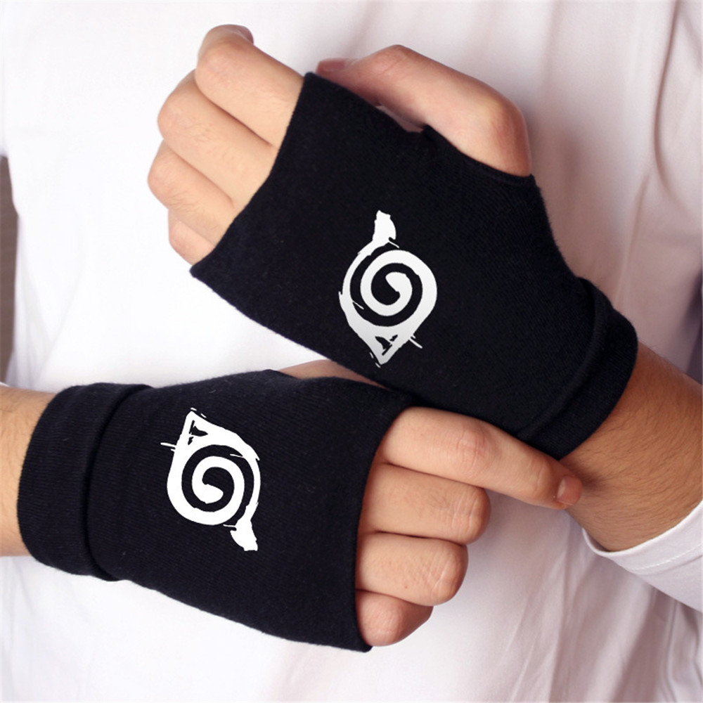 Anime NARUTO Sharingan Uchiha Itachi Cosplay Props Gloves Cotton Warm Half Finger Mittens Kids Adults Cosplay Accessories Toy