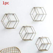 Спальня Скандинавская шестиугольная Подставка для хранения настенная полка геометрическая фигура Ресторан подвесной домашний декор железная гостиная многофункциональная