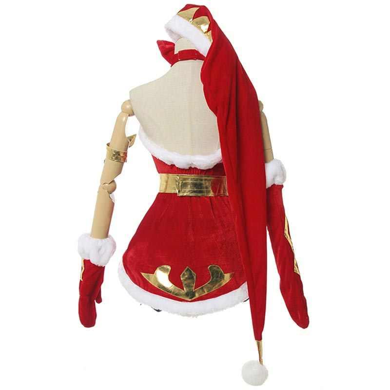 Diecezja LOL Jinx Cosplay kostiumy peruki luźna armata Elf Jinx Snow Festival kobiety sukienka świąteczna