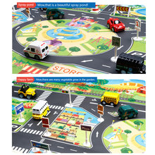 Детские игровые коврики для дома дорожные знаки модель автомобиля Парковка город сцена карта FJ88