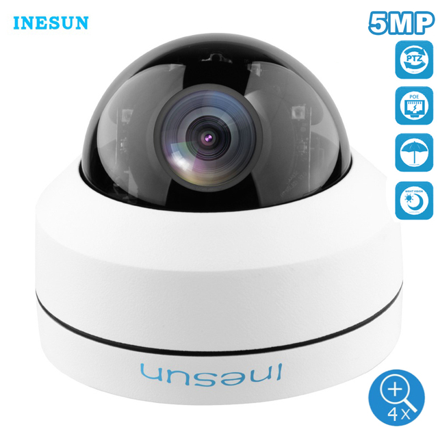 Inesun 야외 보안 카메라 2MP 5MP PoE IP 돔 카메라 팬/틸트 4 배 광학 줌 PTZ 카메라 모션 감지 방수