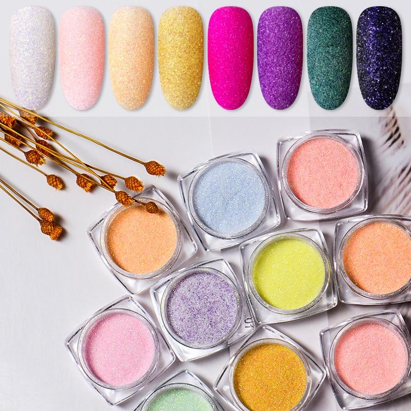 Sugar Nail Powder Glitter Dust For UV Gel Polish Nails Art Laser Gradient Nail Pigment Matte Effect Holographic Glitter Dipping