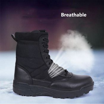 Men Outdoor Military Tactical Combat Boots Breathable Oxford Wear Resistant Waterproof Boot Non-Slip Desert Climbing Sports Shoe 3