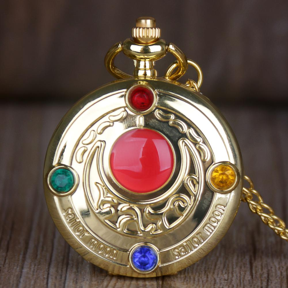 Vintage Japan Anime Sailor Moon Quartz Pocket Watch Pendant With Diamond Gold Clock With Fob Chain Gift For Men Women