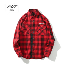 RLJT.JIN 2019 Hot Simple Youth Fashion Casual Pure Color Plaid Large Size Ribbon Man Shirt Comfortable and handsome cotton cover