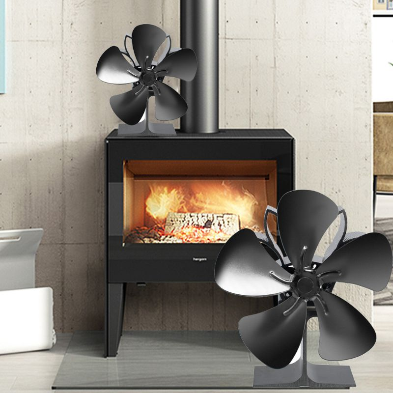 5 Blades Heat Self Powered Stove Fireplace Eco Friendly Fan Silent Fuel Saving