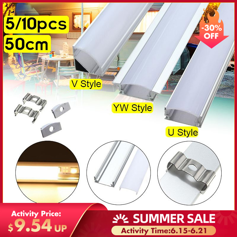 Hot Sale 5 10PCS 50cm Aluminium Channel Holder U V YW Three Style for LED Strip Light Bar Under Cabinet Lamp Kitchen 1 8cm Wide