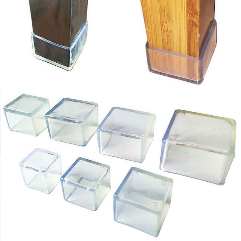 4 Uds., calcetines de silicona para patas de silla, protectores de pie de mesa cuadrados transparentes, Almohadillas protectoras para muebles, tapones para orificios de tubería, decoración del hogar