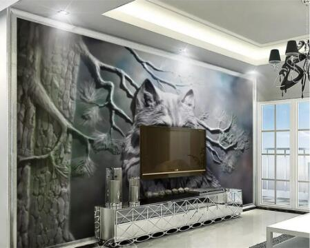 Custom Wallpaper 3D Photo Mural Embossed Forest Wolf Living Room Wall Decoration Painting 3d Wallpaper Papel De Parede