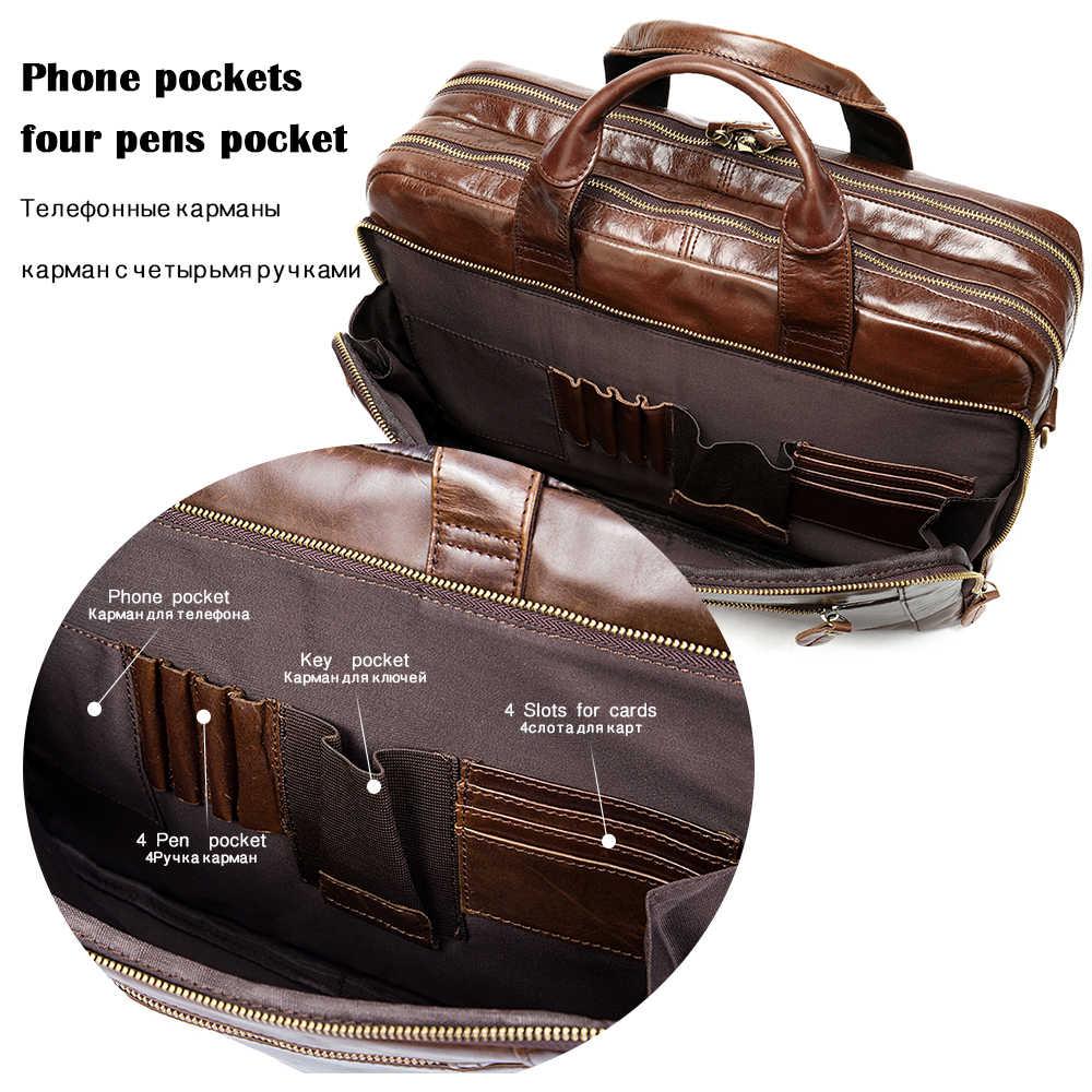 WESTAL للرجال حقيبة ذكر جلد أصلي للرجال حقائب رسول جلد حقيبة لابتوب حقيبة مكتب للرجال كمبيوتر/وثيقة حقائب 9207