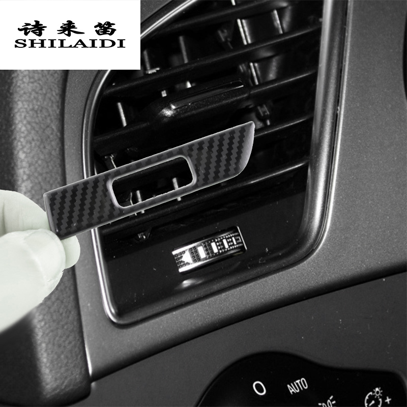 Car Styling Carbon fiber AC Outlet Trim Refit Air Frame Decoration Stickers covers Interior For Audi A4 B8 A5 auto Accessories image
