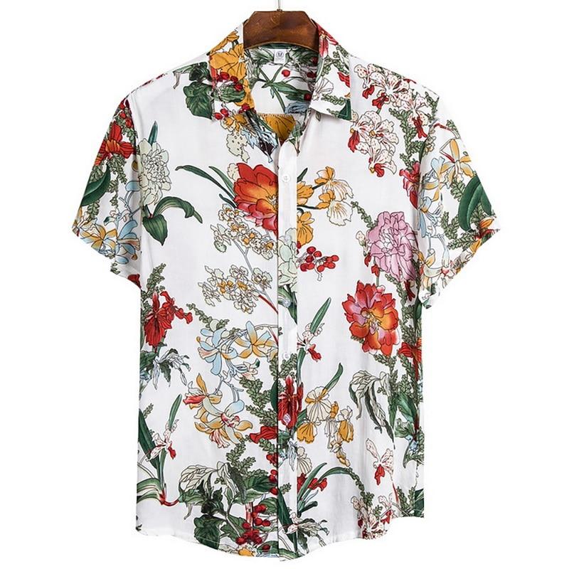 2020 Summer New Men Shirts Men Fashion Printed Short-sleeve Shirts En Hawaiian Casual Wild Shirts Classic One Button Tops